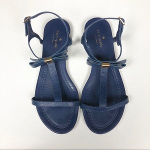Kate Spade Tessa Navy Bow Leather Flat Sandal